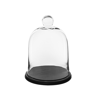 "Glass Bell Cloches with Knob & Wood Base. H-13"", Wholesale Pack of 2 pcs"