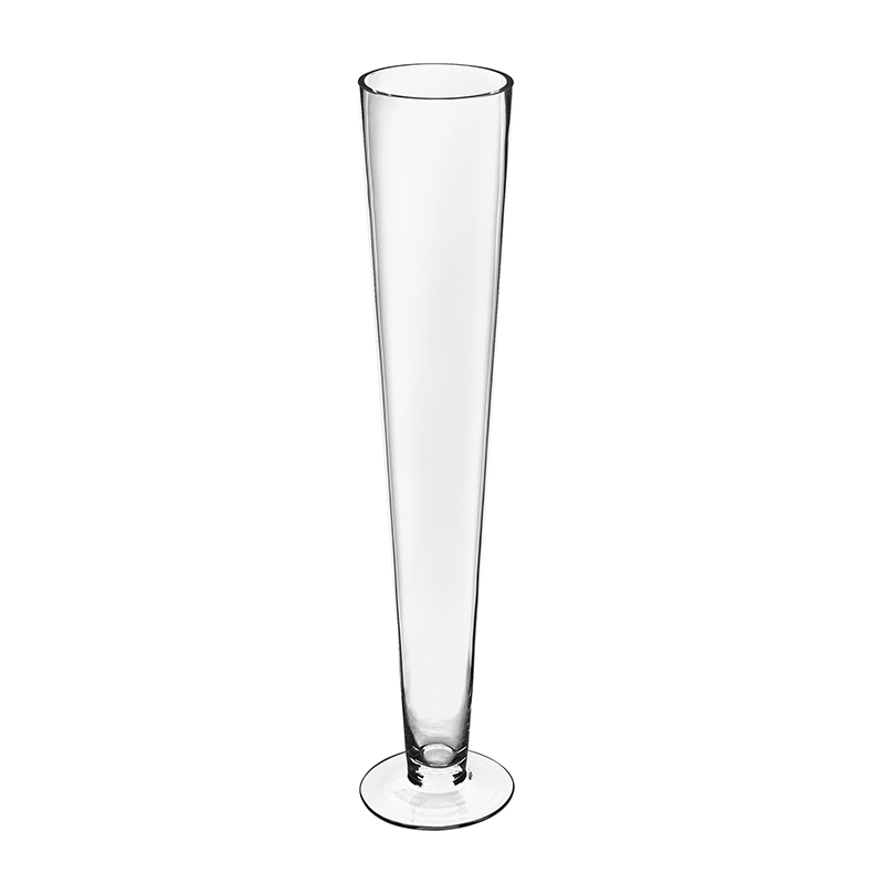 "Glass Clear Trumpet Pilsner Vase. H-24"", Open D - 4.5"", Base - 5.25"", Pack of 6 pcs"