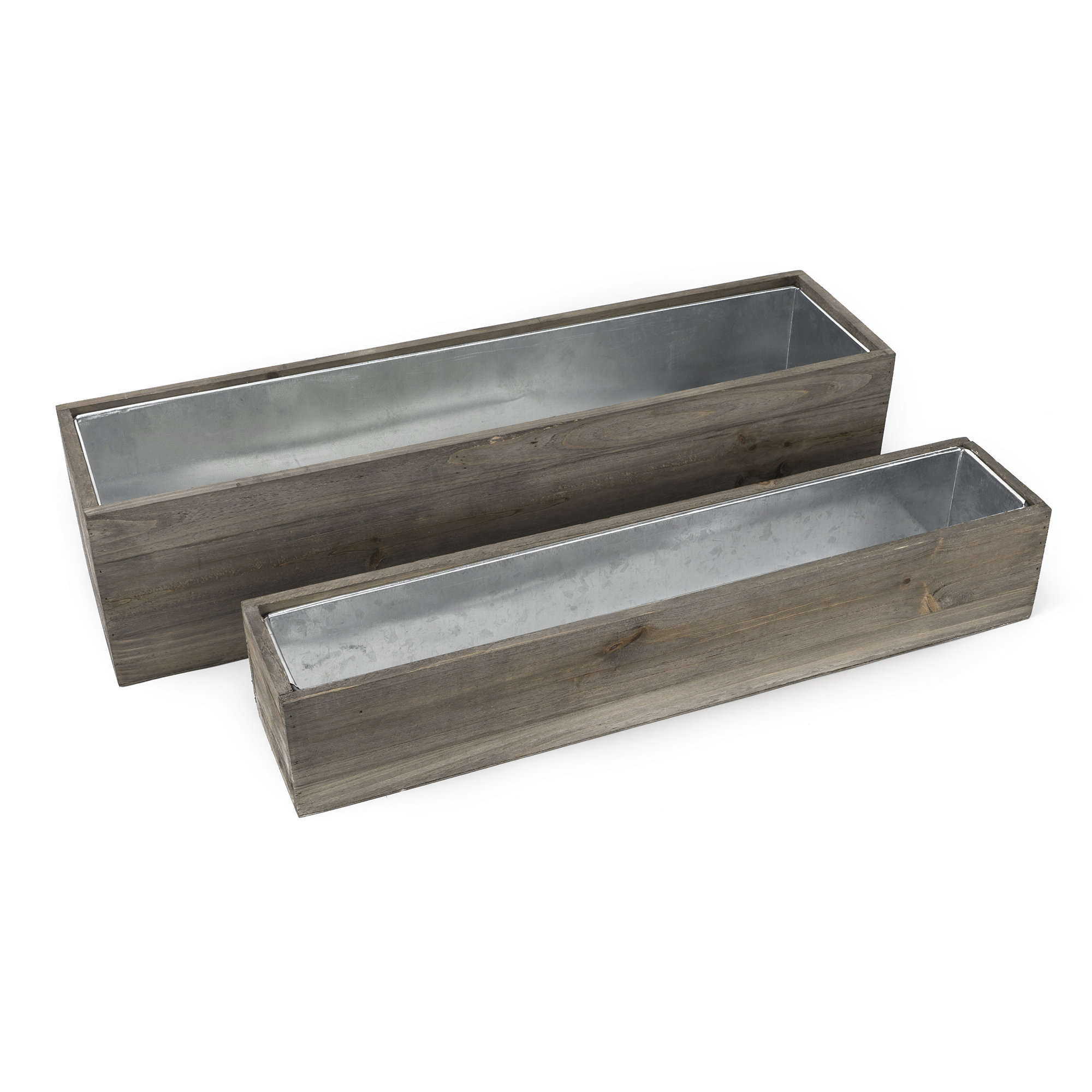 "Wood Rectangle Planter Box w/ Zinc Liner Natural H-6"" W-24"", H-4"" W-22"", Set of 2 (Pack of 4 sets)"