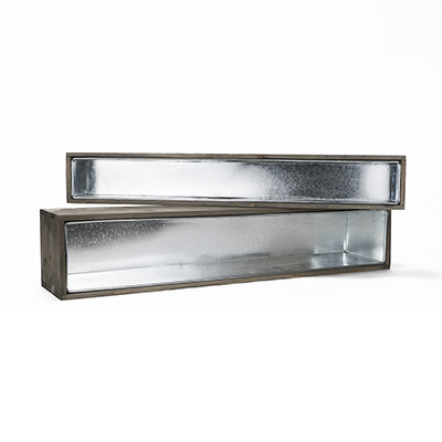 "Wood Rectangle Planter Box w/ Zinc Liner Natural H-6"" W-30"", H-4"" W-28"", Set of 2 (Pack of 4 sets)"