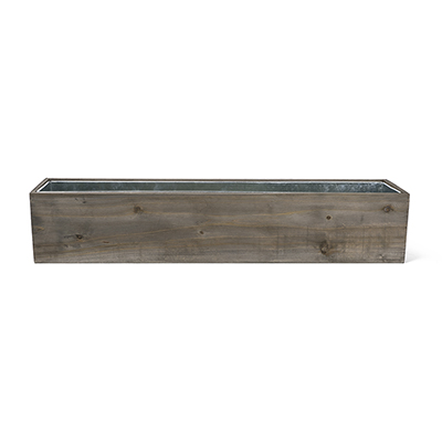 "Wood Rectangle Planter Box w/ Zinc Liner Natural H-6"", Open 30"" x 6"", Pack of 4"