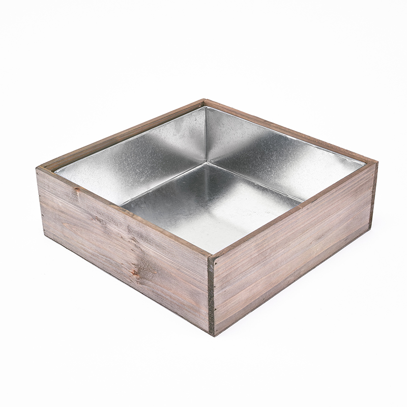 "Wood Square Planter Box w/ Zinc Liner H-4"" Open-12""x12""-wholesale"