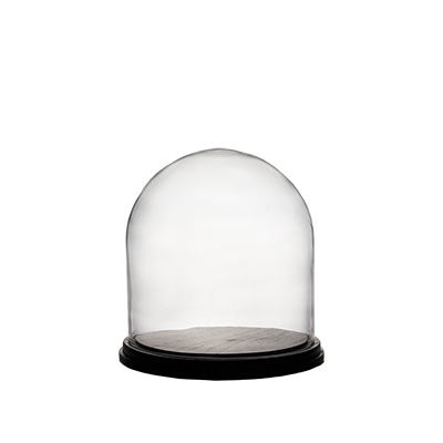 "Cloches with Black Wood Base. H-11"", Wholesale Pack of 2 pcs"