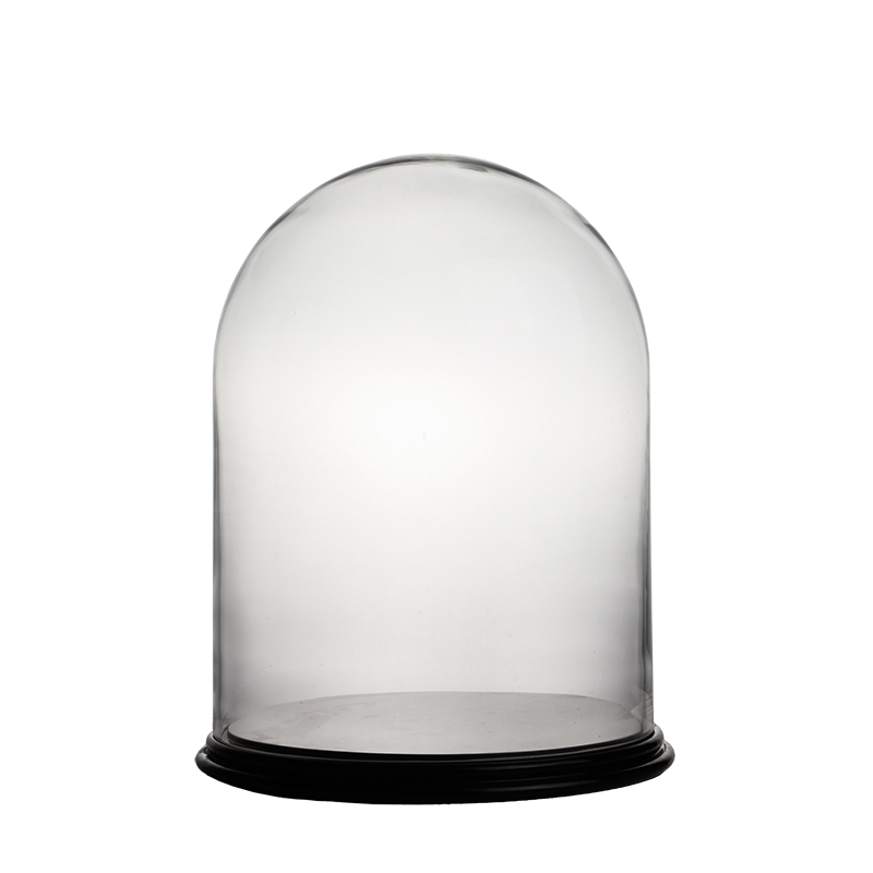 "Cloches with Black Wood Base. H-16.5"", Wholesale Pack of 2 pcs"