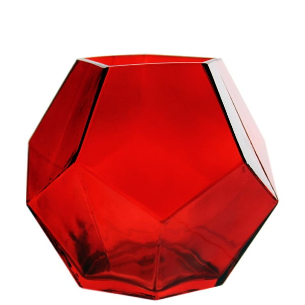 "Geometric Red Glass Vases, Candle Holder. H-6"", Pack of 6 pcs"