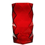 "Geometric Red Glass Vases, Candle Holder. H-7.5"", Pack of 12 pcs"
