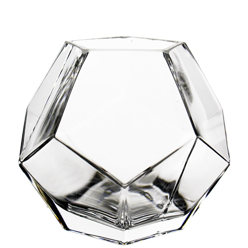 "Geometric Glass Vases, Candle Holder. H-6"" , Pack of  12 pcs"