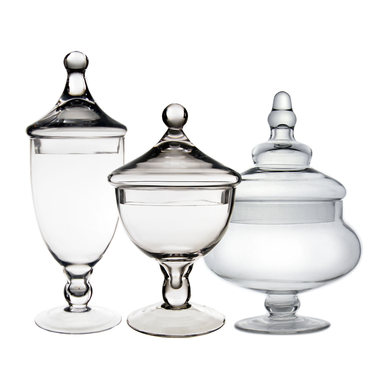 "Glass Apothecary Jars Set of 3, H-10"", 9.5"", 13.5"""