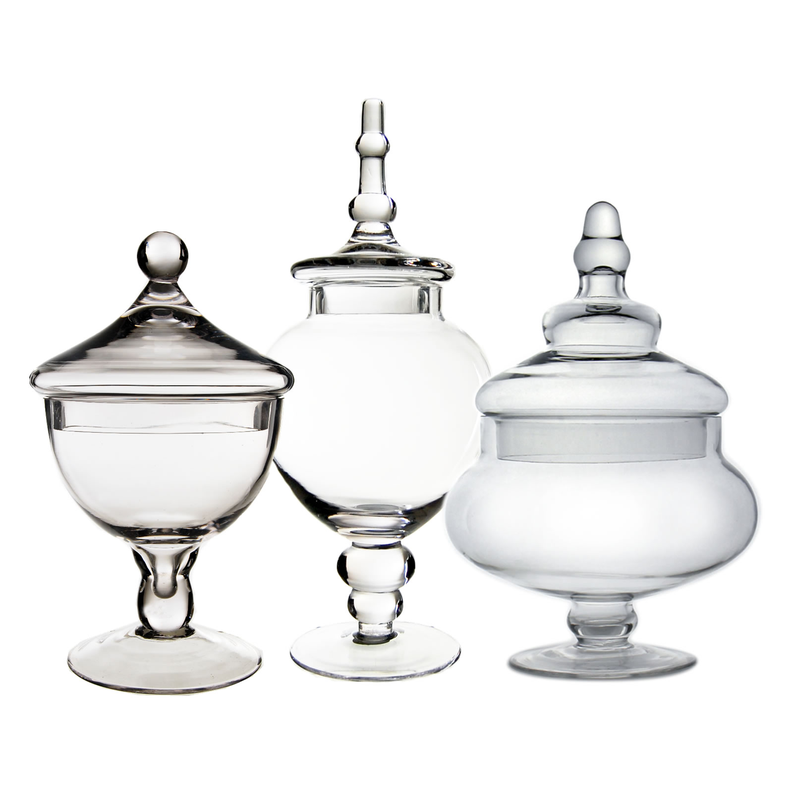 "Glass Apothecary Jars Set of 3, H-10"", 9.5"", 14.75"""