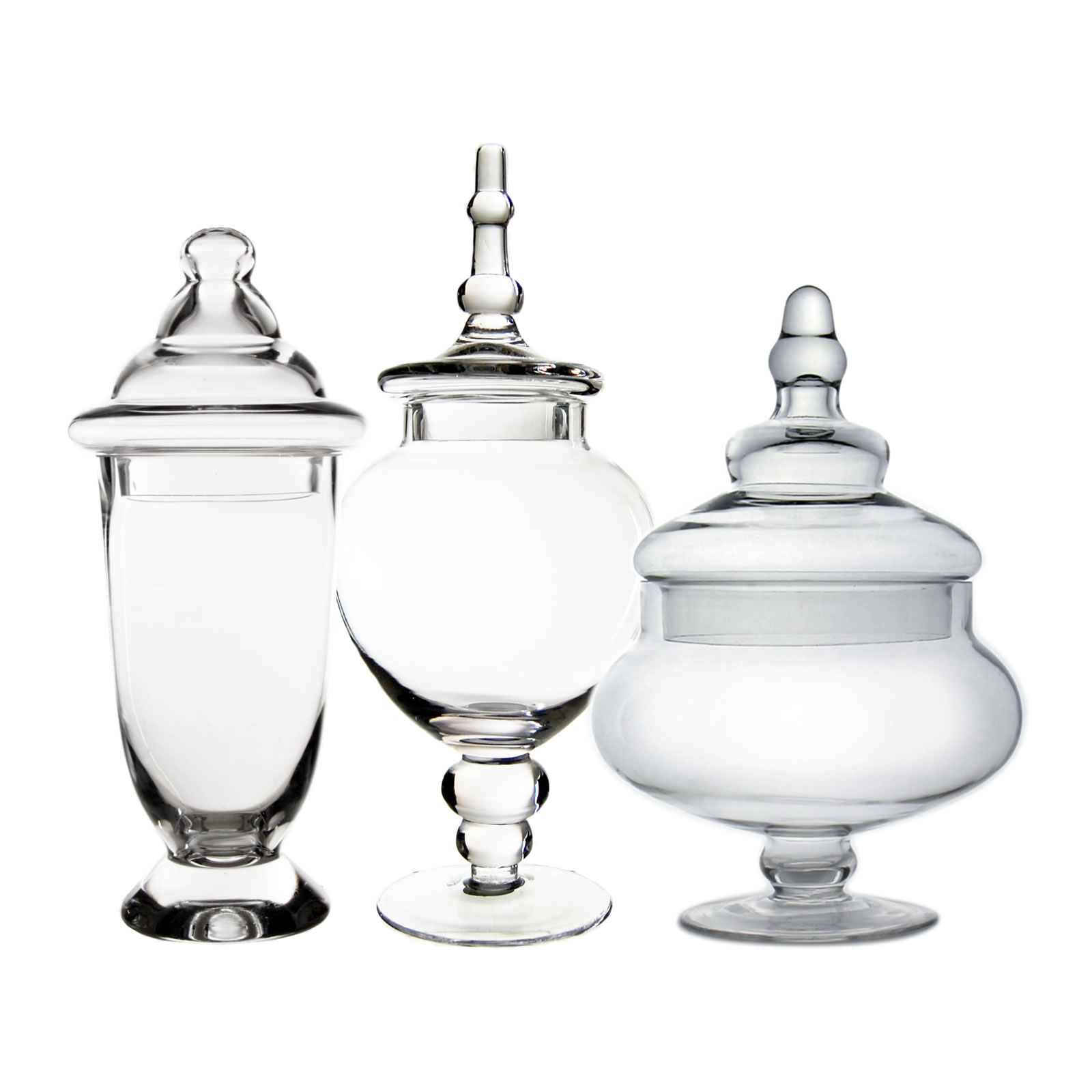 "Glass Apothecary Jars Set of 3, H-10"", 13"", 14.75"""