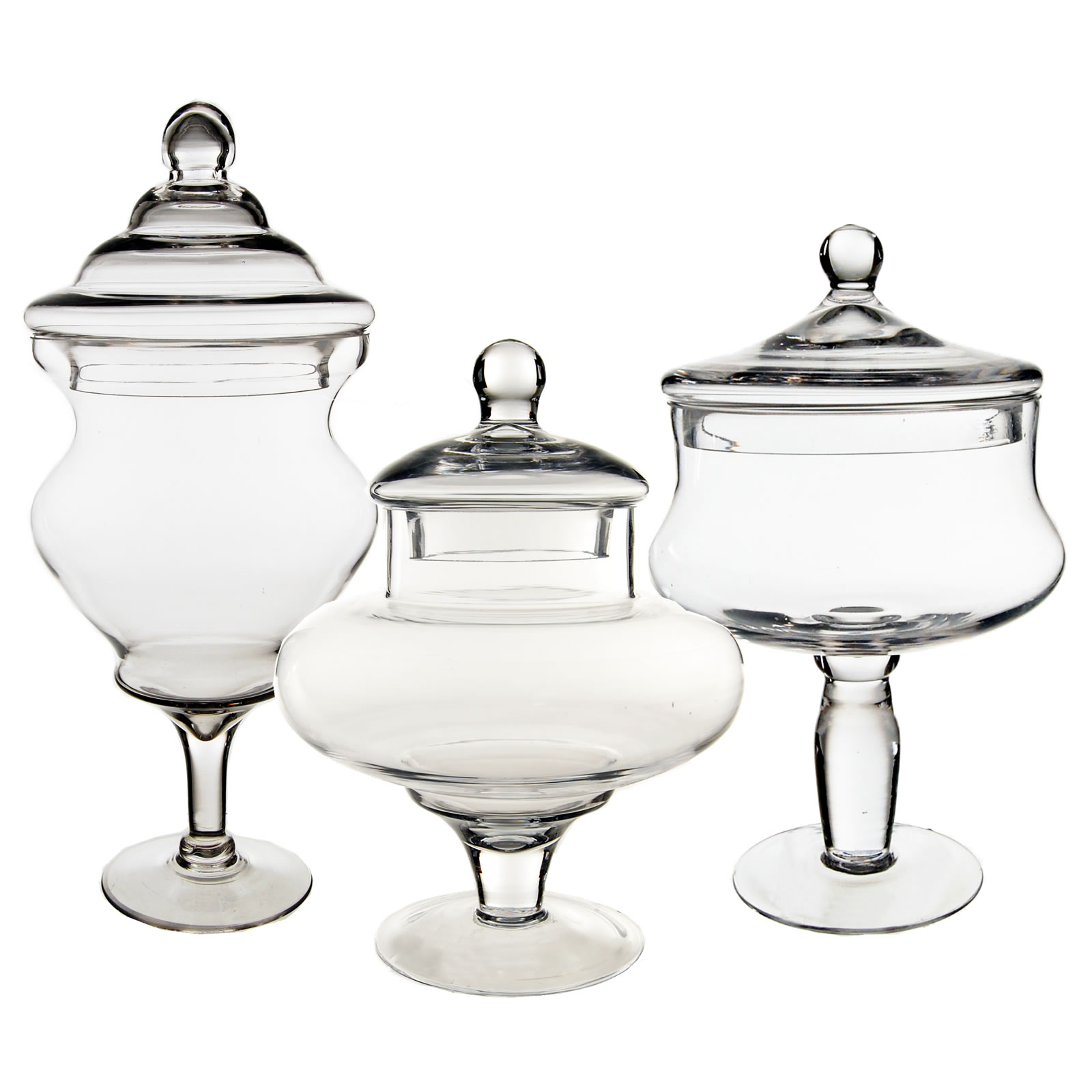 "Glass Apothecary Jars Set of 3, H-10"", 12"", 16.25"""