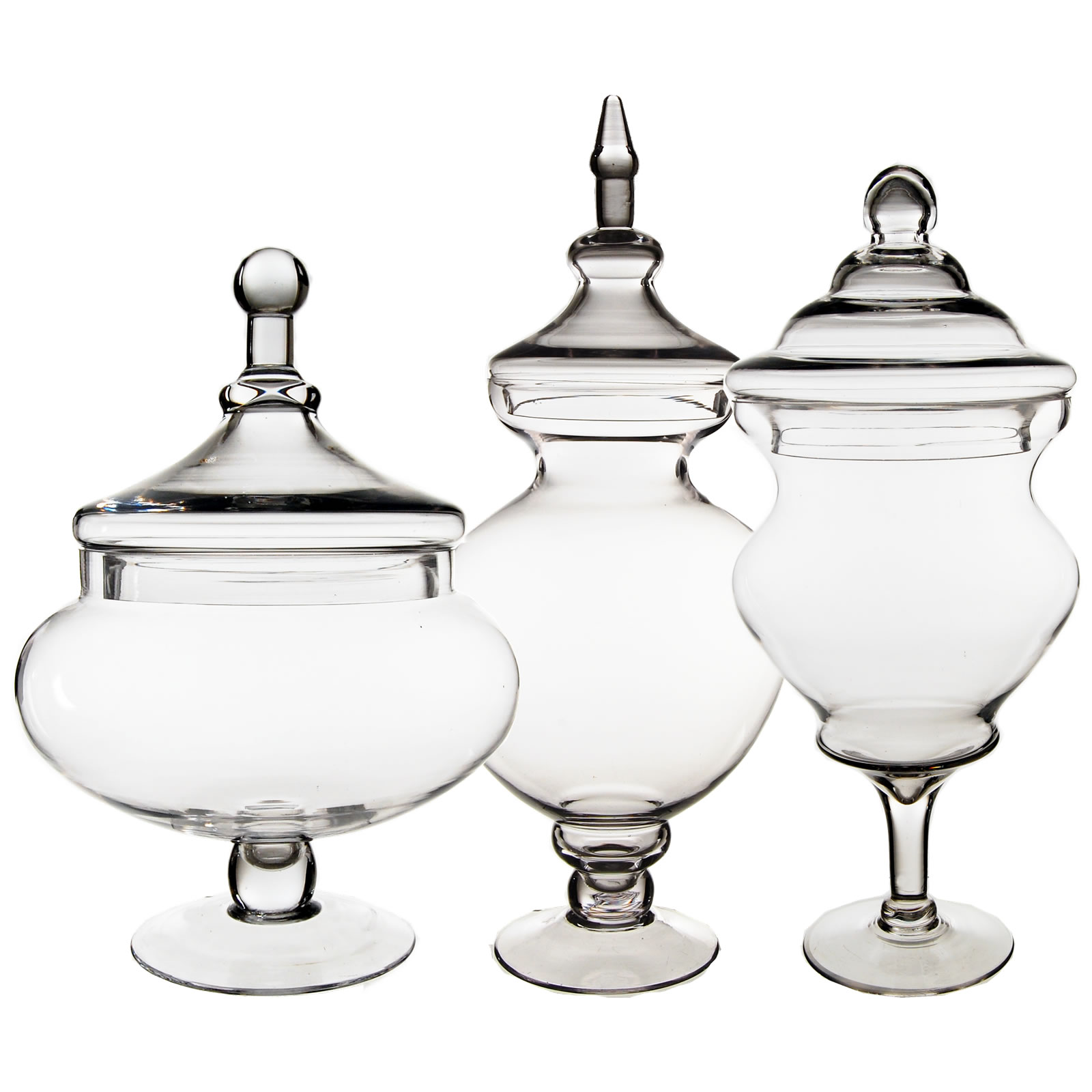 "Glass Apothecary Jars Set of 3, H-21.5, 15"", 16.25"""
