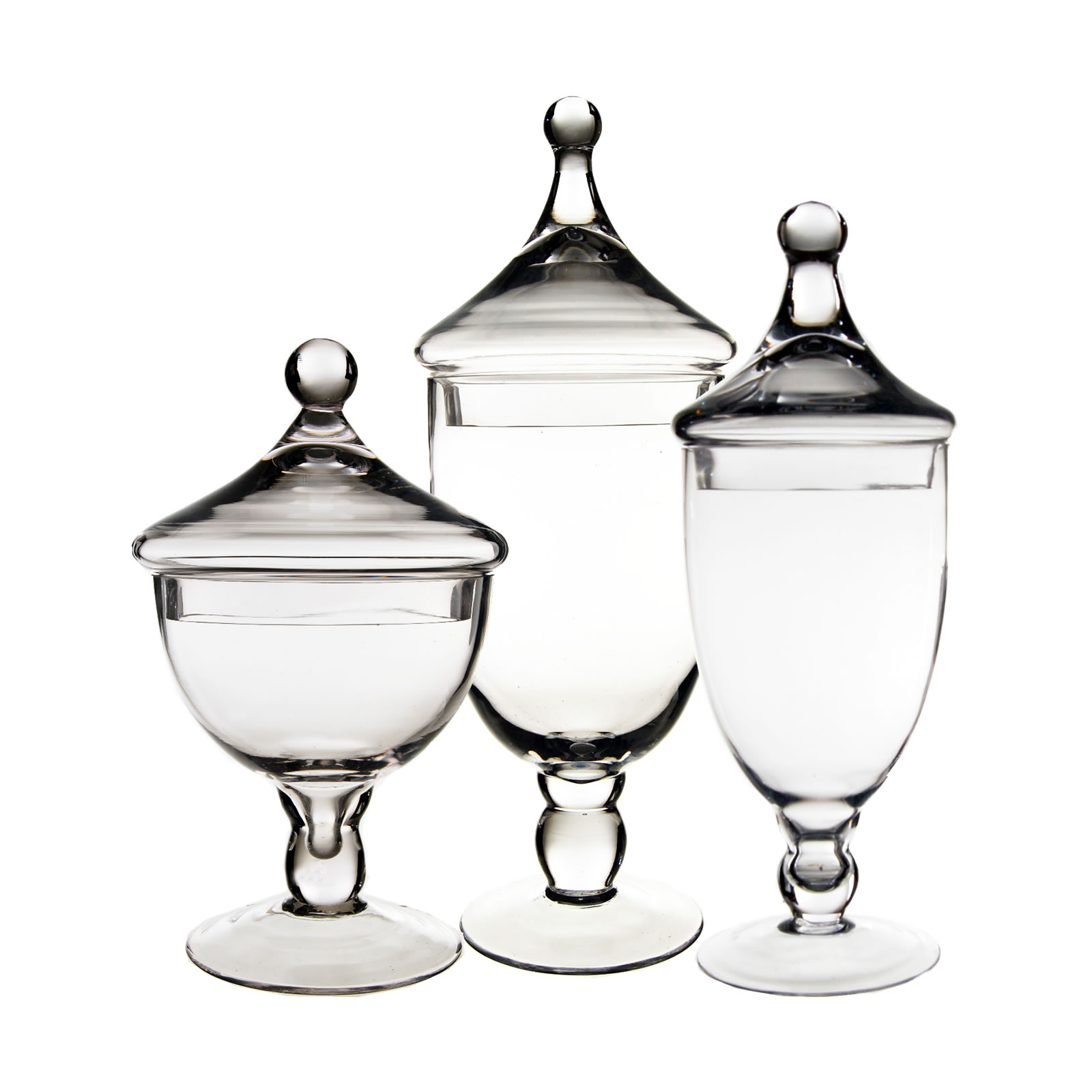 "Glass Apothecary Jars Set of 3 H-9.5""/ 13.5""/ 16.5"""