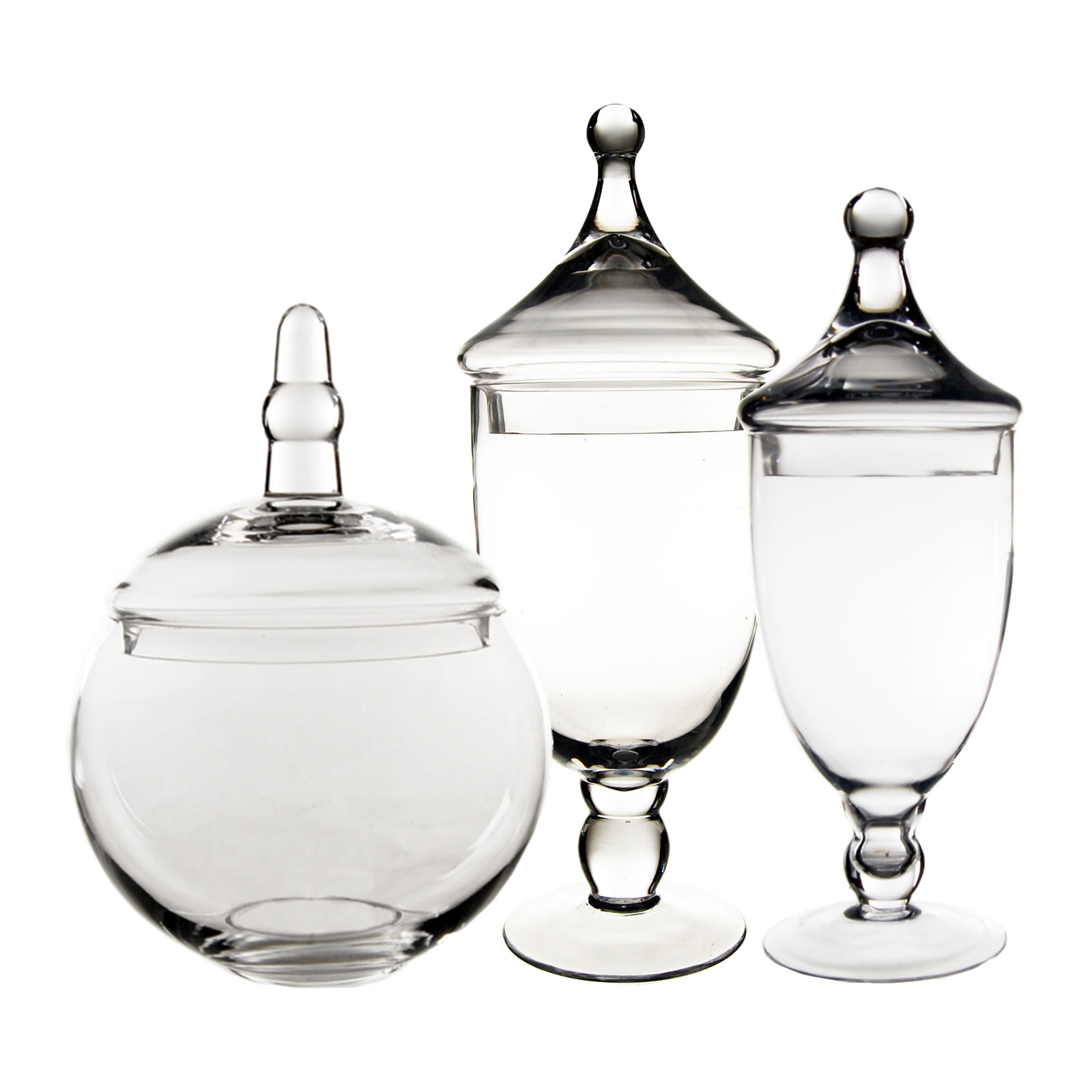 "Glass Apothecary Jars Set of 3, H-13.5"", 16.5"", 10"""