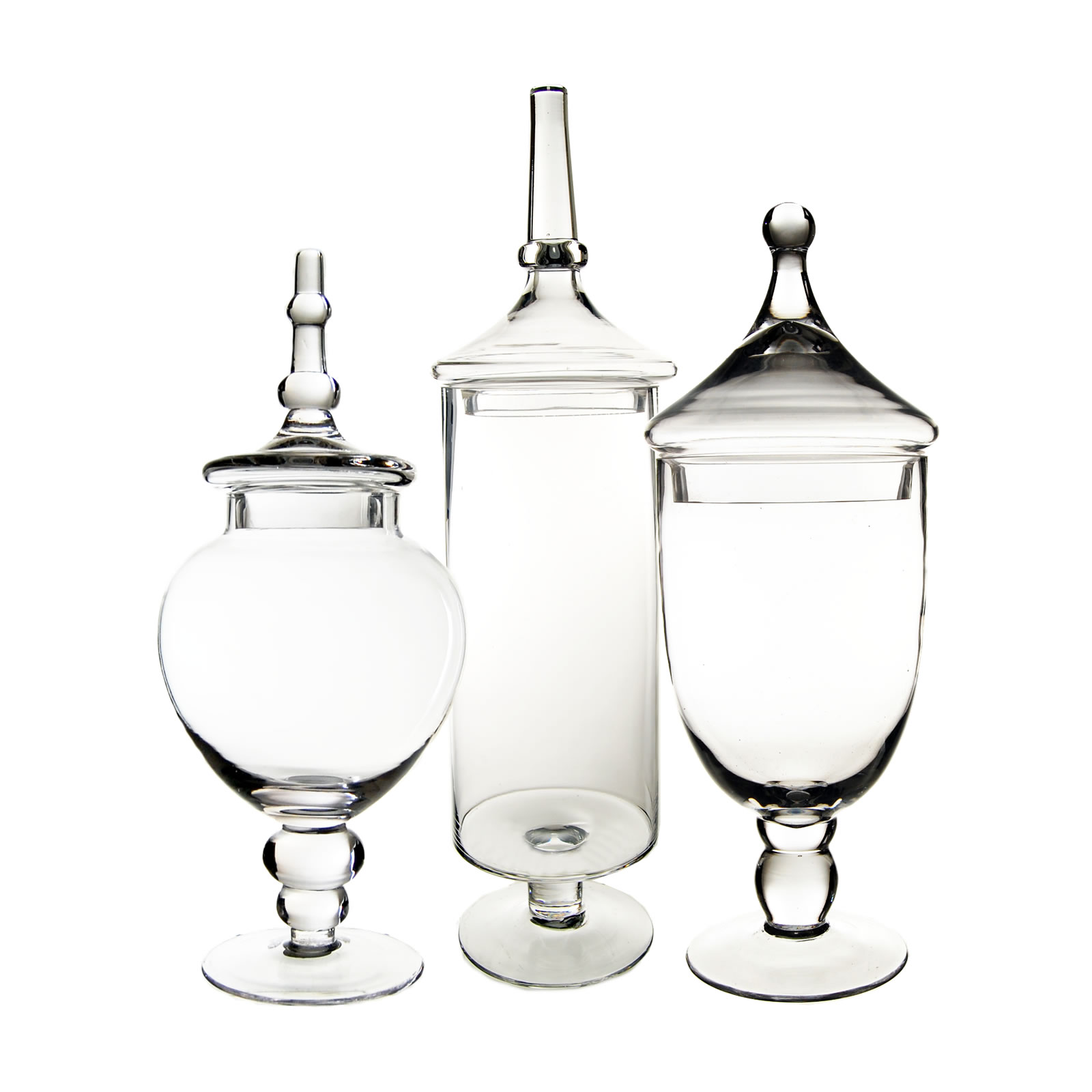"Glass Apothecary Jars Set of 3, H-14.75"", 16.5"", 22"""