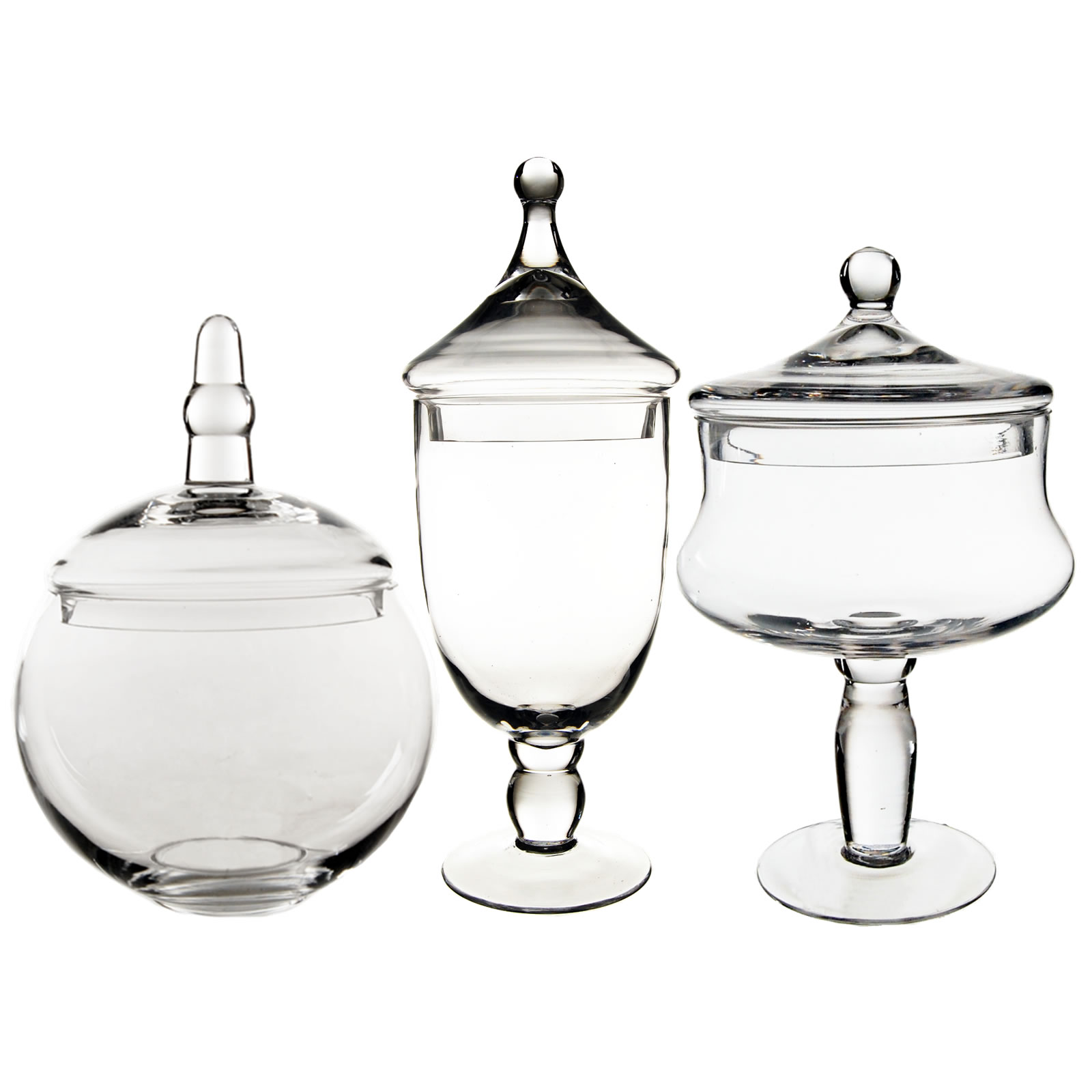 "Glass Apothecary Jars Set of 3, H-16.5"", 12"", 10"""