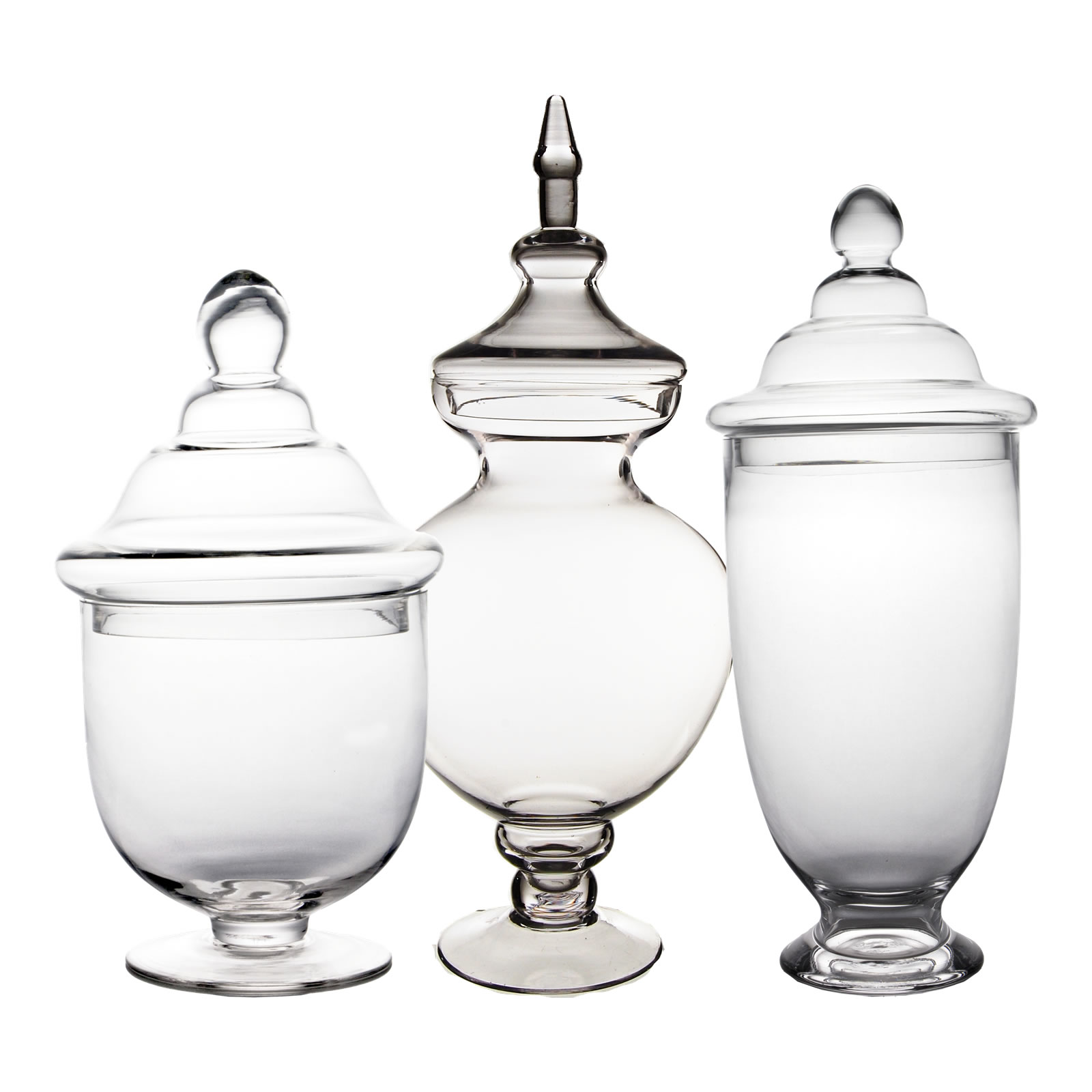 "Glass Apothecary Jars Set of 3, H-21.5, 14.25"", 18.5"""