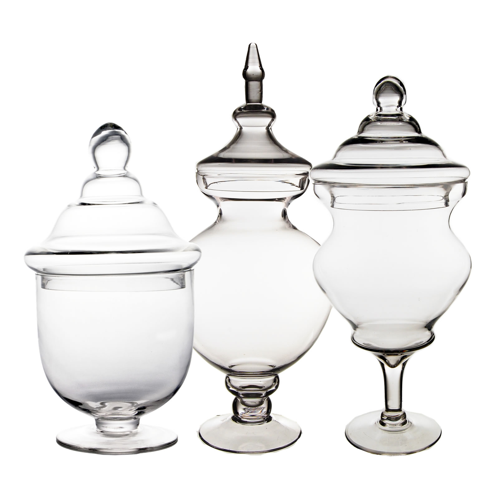 "Glass Apothecary Jars Set of 3, H-21.5, 14.25"", 16.25"""