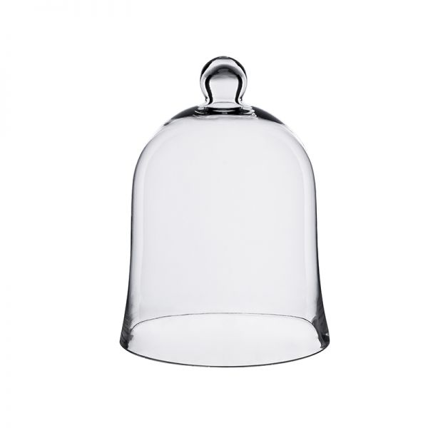 "Glass Bell Cloches with Knob. H-12"", Wholesale Pack of 4 pcs"