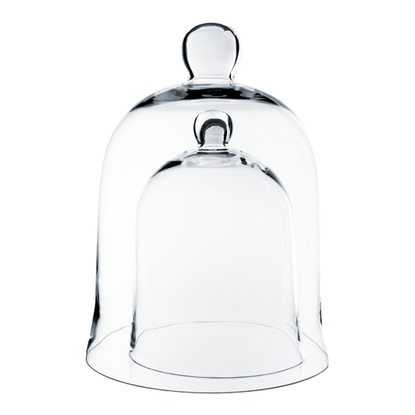 "Glass Cloche Bell Dome, Set of 2 pcs, H-16"" & H-12"", Pack of 2 sets"