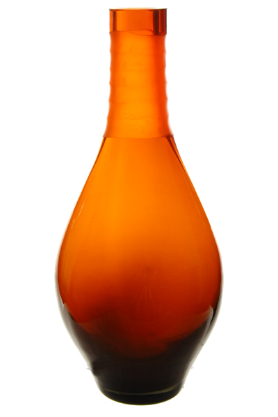 "Carved Tear Drop Vase: Autumn Orange, H-14"", Open-2"""