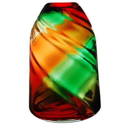"Swirl Dome Vase: Red-Green, H-9.5"", Open-2.5"""