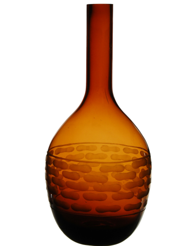 "Carved Artistic Autumn Vase: Amber H-14.5"", Open-1.5"""