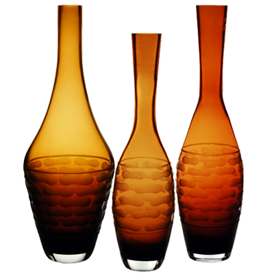 Tear Drop Carved Artistic Vase: Amber (SET of 3)