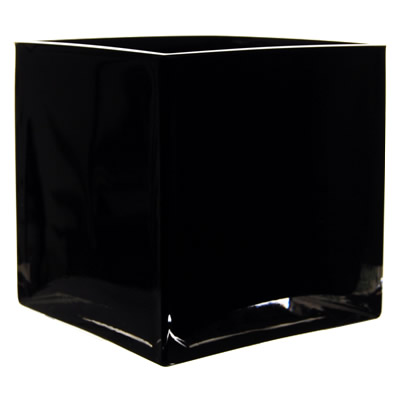 "Black Cube Vase. H-4.75"", Pack of 12 pcs"