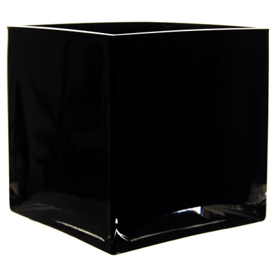 "Black Cube Vase. H-6"", Pack of 6 pcs"