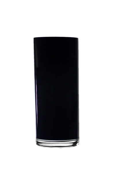 "Black Cylinder Vase H-12"", Open D - 4"", Pack of 4 pcs"
