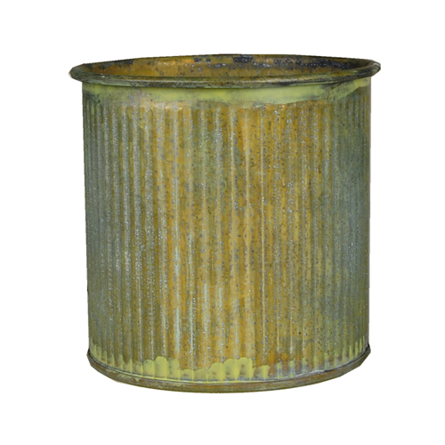 "Planter Ridged Rustic Zinc Cylinder. H-3"", Pack of 72 pcs"