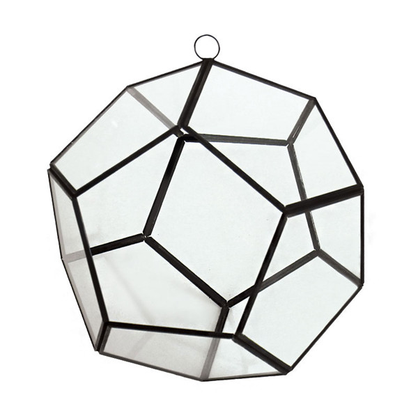 "Geometry Prism 8"" Terrarium Glass with Chains. Pack of 4 pcs"