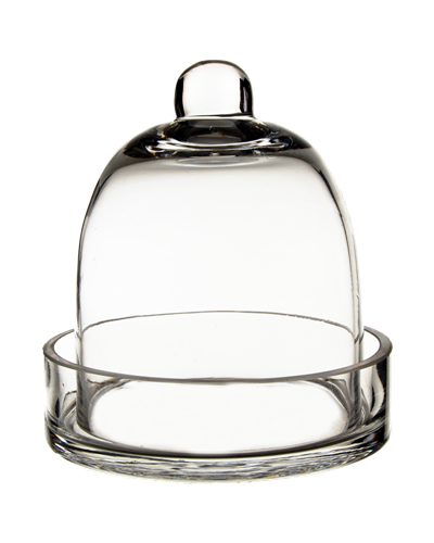 "Glass Bell Cloches with Knob & Tray. H-6"", Wholesale Pack of 8 pcs"