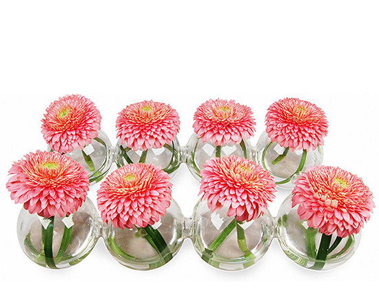 "Interconnected Bud Vase Spheres: Clear, End to end dimension: 12.5"" x 7.5"" (1 piece)"