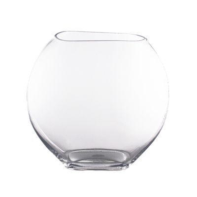 "GEM Moon Shaped Vase: Clear, H-11"", Open-7.5""x3"" (Pack of 4 pcs)"