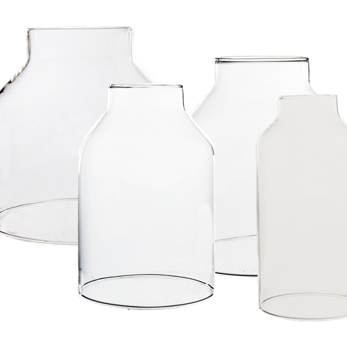 "Glass Hurricane Candle Shade Set of 4. H-6"", Pack of 6 sets"