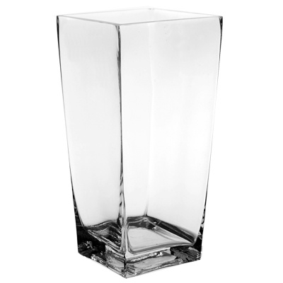 "Taper Down Square Vase. H-10"", Pack of 12 pcs"