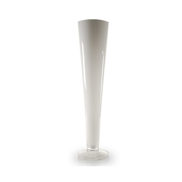 "Glass White Trumpet Pilsner Vase. H-20"", Open D-4.5"", Pack of 6 pcs"