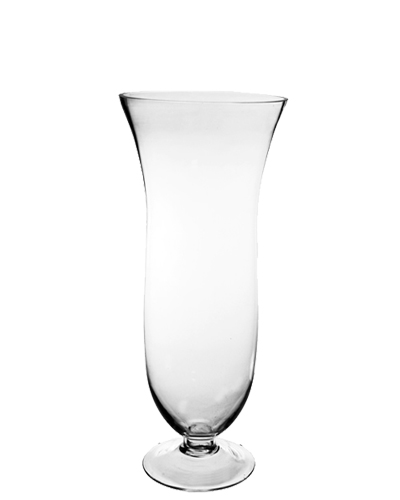 "Glass White Trumpet Pilsner Vase. H-16.5"", Open D - 7.75"", Pack of 4 pcs"