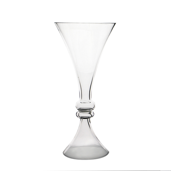 "Glass Reversible Trumpet Vase. H-16"", Top Open-7"",  Bottom Open-5.5"", Pack of 6 pcs"