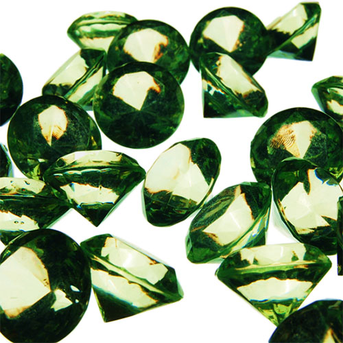 Acrylic Diamond Vase Fillers, Pack of 24 bags, Color: Green