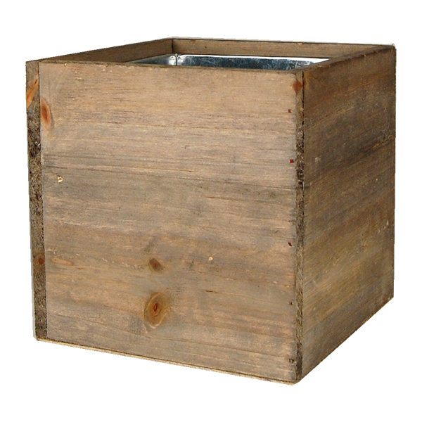 "Wood Cube Planter Box with Zinc Liner Natural. H-6"",Pack of 16 pcs"
