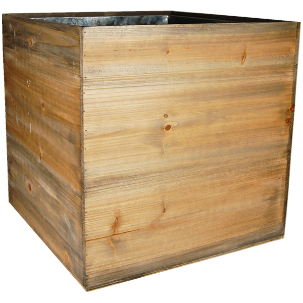 "Wood Cube Planter Box with Zinc Liner Natural. H-16"",Pack of 2 pcs"