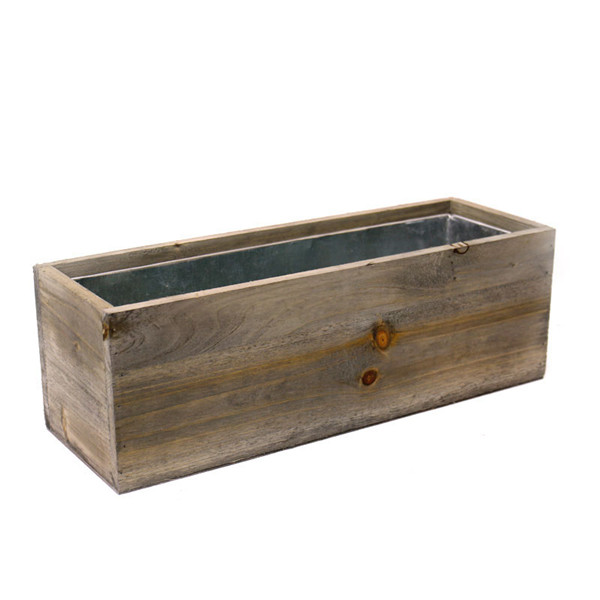 "Wood Rectangle Planter Box with Zinc Liner Natural. H-5"",Pack of 8 pcs"