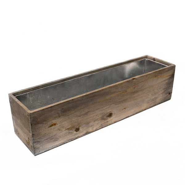 "Wood Rectangle Planter Box with Zinc Liner Natural. H-6"",Pack of 4 pcs"