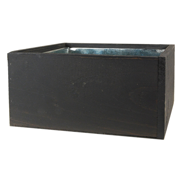 "Wood Cube Planter Box with Zinc Liner Natural. H-4"",Pack of 12 pcs"