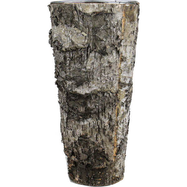 "Zinc Cylinder Vase with Birch Wood Wrap. H-12"",Pack of 24 pcs"
