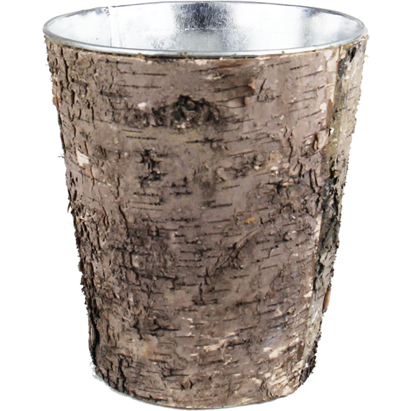 "Zinc Cylinder Vase with Birch Wood Wrap. H-8"",Pack of 32 pcs"