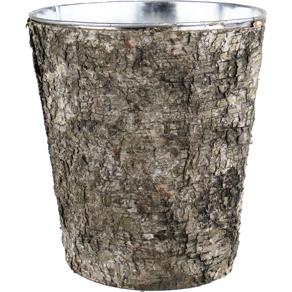 "Zinc Cylinder Vase with Birch Wood Wrap. H-9"",Pack of 12 pcs"